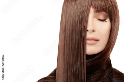 Fotografie, Obraz  Hair salon concept. Beauty model girl with healthy straight hair