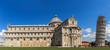 canvas print picture - Panorama vom Piazza dei Miracoli mit dem schiefen Turm von Pisa und dem Dom Santa Maria Assunta, Toskana, Italien