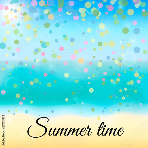 Spoed Foto op Canvas Turkoois Summer vector background with tropical beach, sea and sky. Blurred bokeh and colorful confetti backdrop. Vacation and relax concept.