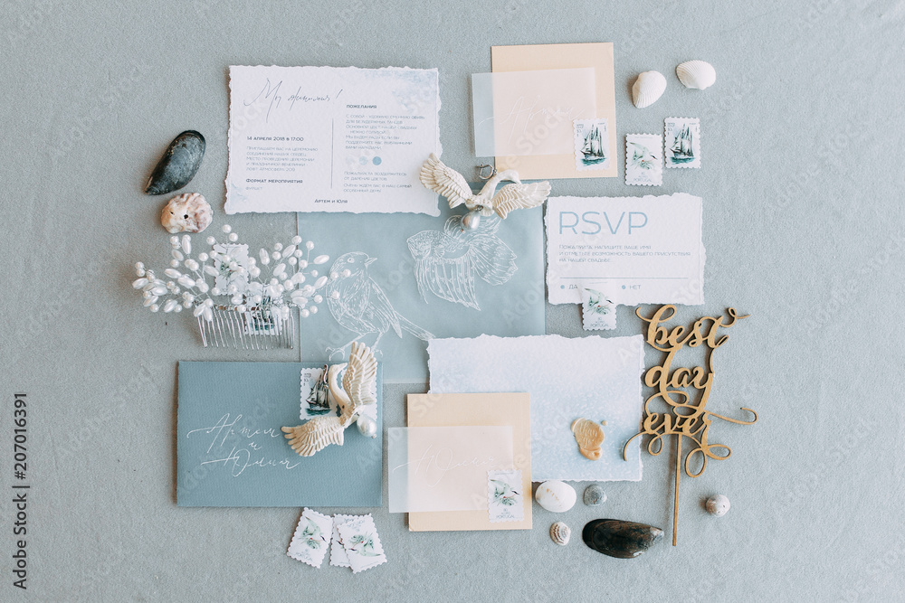 Fototapety, obrazy: Stylish printing at the wedding ceremony, beautiful details and decor with flowers and rings. Wedding invitations made by hand with calligraphy