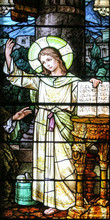 Salt Lake City,Utah,US. 31/08/2017. Stained Glass In The Cathedral Of The Madeleine Depicting 12-year Old Jesus Teaching Scribes In The Jerusalem Temple When Found By His Mother Mary And Saint Joseph