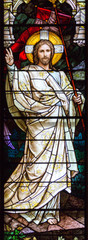 Salt Lake City,Utah,US. 31/08/2017. Stained glass in The Cathedral of the Madeleine depicting Resurrected Jesus Christ.