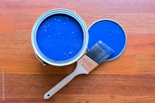 Fotografia, Obraz  Top View of Blue Paint Can and Brush