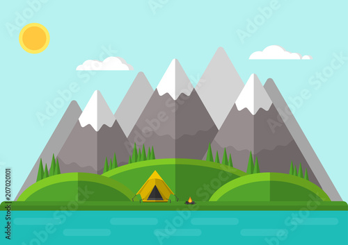 Tuinposter Lichtblauw Vector illustration. Summer mountain landscape with a tent and a fire. Flat design.