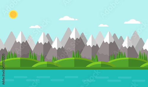Tuinposter Lichtblauw Vector illustration. Summer mountain landscape. Flat design.