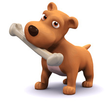 Vector 3d Dog And Bone