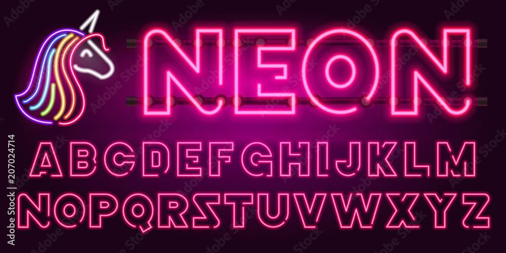 Fototapety, obrazy: 80 s purple neon retro font and unicorn. Futuristic chrome letters. Bright Alphabet on dark background. Light Symbols types. Sign for night show in club. concept of galaxy space. Outlined version.
