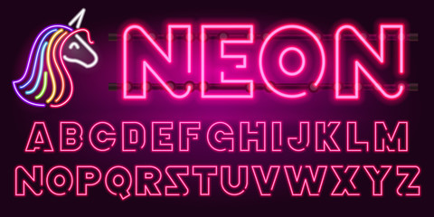 80 s purple neon retro font and unicorn. Futuristic chrome letters. Bright Alphabet on dark background. Light Symbols types. Sign for night show in club. concept of galaxy space. Outlined version.