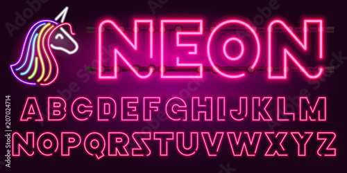 80 s purple neon retro font and unicorn  Futuristic chrome