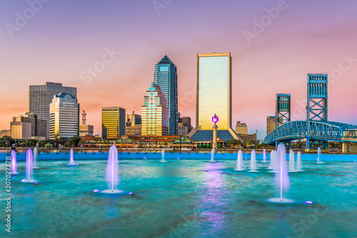 Poster Rose clair / pale Jacksonville, Florida, USA Skyline