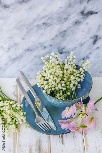 Spring Table Setting With Vintage Blue Cutlery Lily Of The Valley