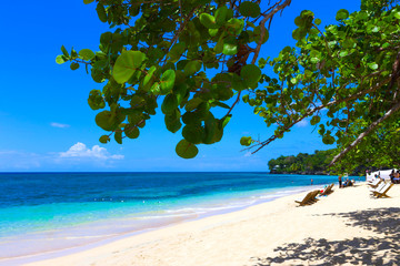 The sea and sand at Bamboo Beach in Jamaica