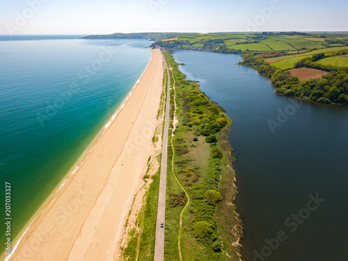 An aerial view of Slapton Sands in Devon UK Canvas Print