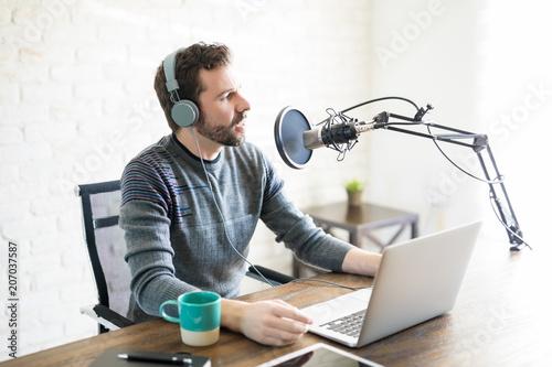 Radio deejay at work