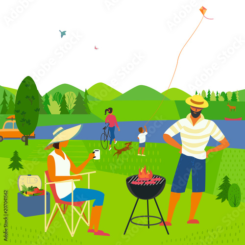 In de dag Lime groen Family barbecue picnic. Summer outdoors concept. Cartoon colorful poster. Season holiday leisure banner background. Mountain valley, lake, green hills. Weekend BBQ of father, mother, daughter, son