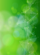 Eco Conceptual Background - Green Bokeh And White Structure In The Form Of Waves From Points Connected By Lines & Triangles / Illustration For Eco Friendly Design & Modern Innovations / Vector - Eps10
