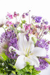 Beautiful bouquet of spring, summer flowers, pink, white and purple tones, lily, aquilegia,, anemones, allium in vase. Mother's, Birthday Valentines Women's Wedding Day concept