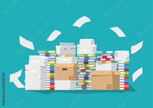 Fotografie, Obraz  Vector illustration. Pile of paper documents and file folders.