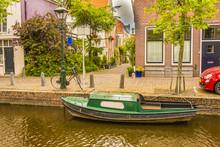 Typical Boat In An Alkmaar Channel. Netherlands Holland