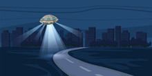 UFO Flying Over Night City, Metropolis, Houses, Skyscrapers, Expensive, Vector, Illustration