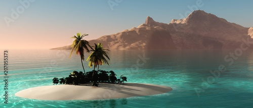 Poster Cappuccino tropical island with palm trees at sunset, oceanic sunrise over the island