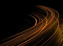 Long Exposure At Night Orange Streaks
