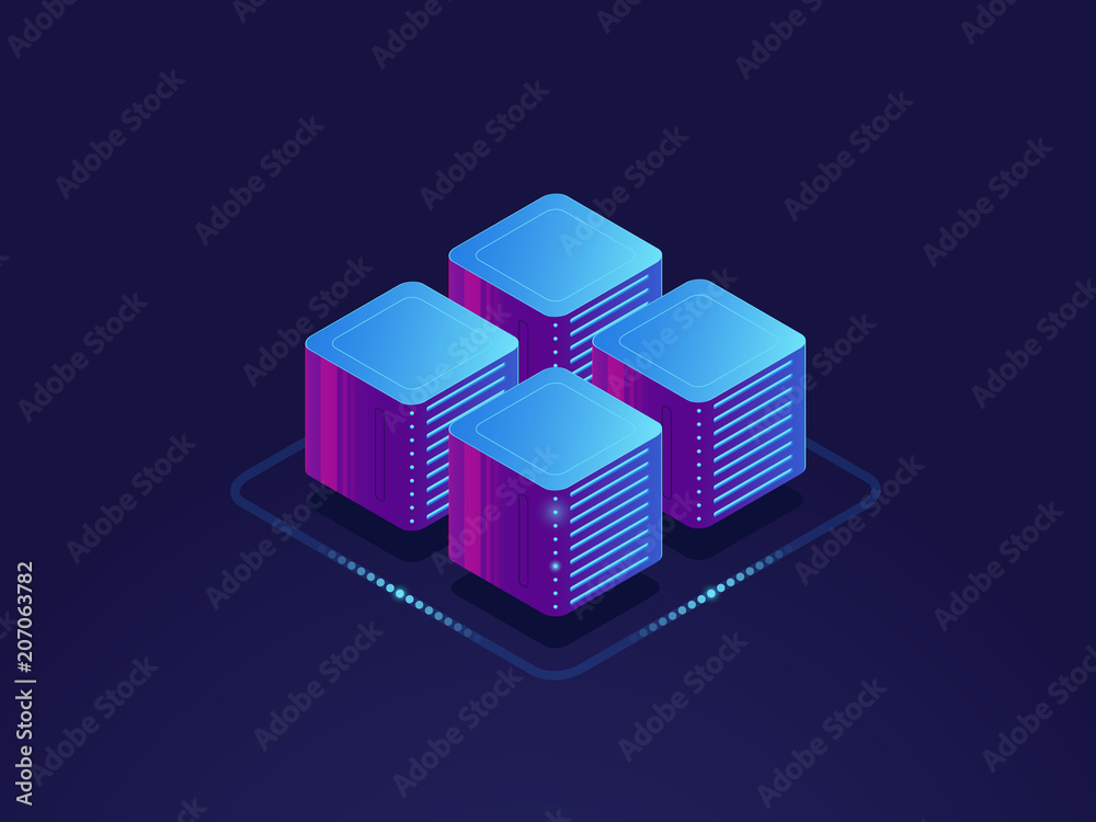 Fototapeta Data science concept, digital information processing, server room, cloud storage isometric