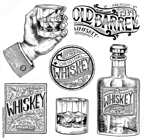 Vintage American whiskey badge Canvas Print