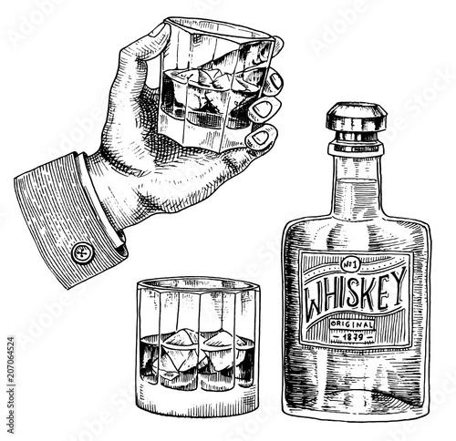 Stampa su Tela Vintage American whiskey badge