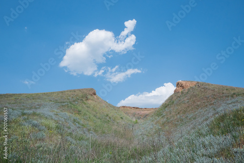 Spoed Foto op Canvas Khaki Beautiful summer landscapes with clay cliffs near delta of river Dnieper and Black sea