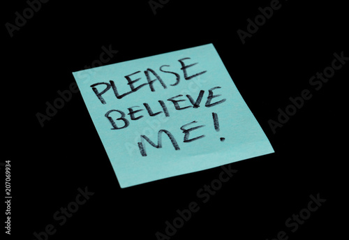 Photo  please believe me is on your note pad