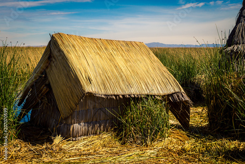 Poster Zuid-Amerika land Reed house lake Titicaca
