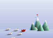 Paper Boats Sailing To Target On Peak Of Mountains.Business Teamwork And Leadership Concept.Paper Art Vector Illustration