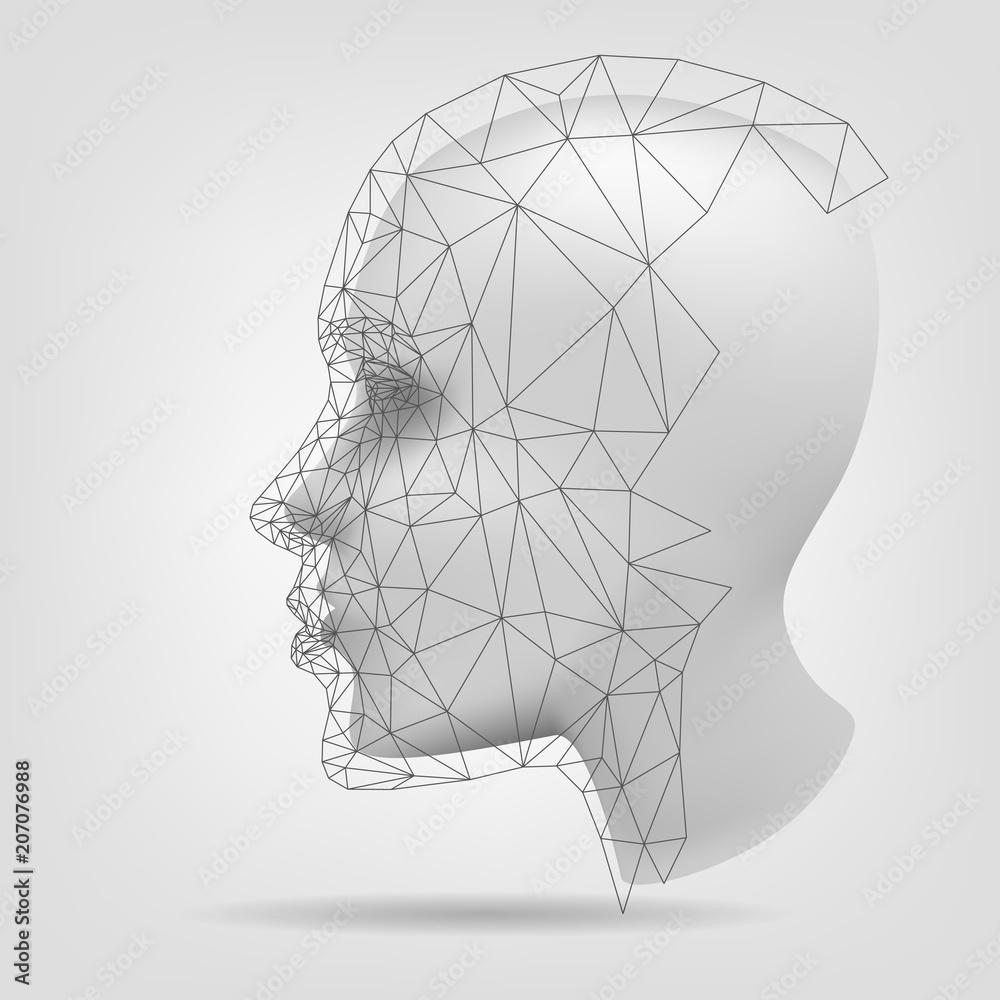 Fototapeta Stylized human head, polygonal mesh, 3d modeling