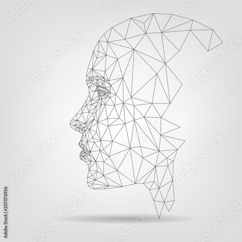 Fotografiet  Human face, polygonal mesh, technology