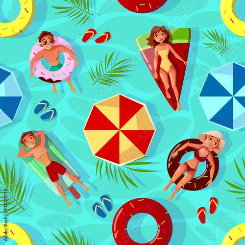 ilustracja-wektorowa-basen-lato-bezszwowe-tlo-wzor-z-ludzmi-na-pierscienie-plywac-w-ksztalt-owocow-szczesliwi-chlopiec