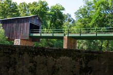 Euharlee Creek Covered Bridge Surrounded By Trees In Georgia At Worm's-eye View