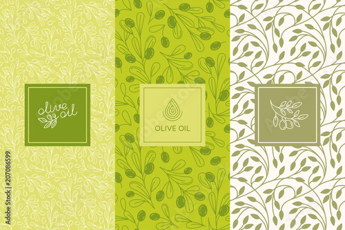 Fototapeta Vector packaging design elements and templates for olive oil labels and bottles - seamless patterns obraz
