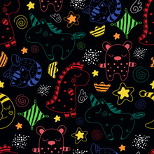 Children's Pattern With Different Cute Characters.