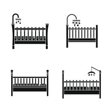 Baby Crib Cradle Bed Icons Set. Simple Illustration Of 4 Baby Crib Cradle Bed Vector Icons For Web