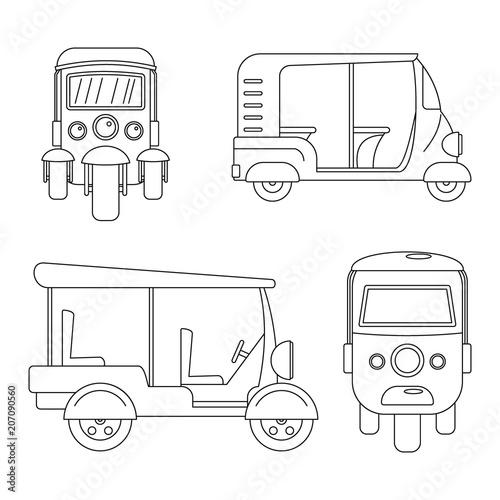 Fotografie, Tablou Tuk rickshaw Thailand icons set