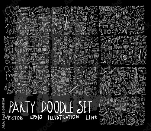 Leinwand Poster Hand drawn Sketch doodle vector line Party element icon set on Chalkboard eps10