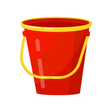 Bright Red Bucket With Yellow ...