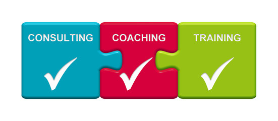 3 Puzzle Buttons zeigen Consulting Coaching Training