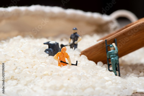 Fotografie, Obraz  Miniature people: Men are working hard in raw rice mountain in a bamboo basket, the concept of labor