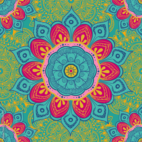 Fototapeta  Flower mandala colorful background for cards, prints, textile and coloring books
