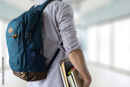 Obraz Happy  Student with backpack go to scholl - fototapety do salonu
