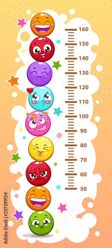 Staande foto Hoogte schaal Kids height chart with funny cartoon colorful round characters.