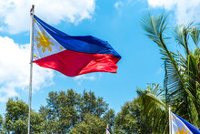 Philippines National Flag Flying In The Wind