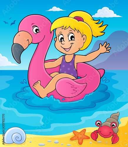 Fotobehang Voor kinderen Girl floating on inflatable flamingo 4